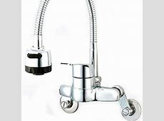 Kitchen Faucet Taps Chrome Pull Out Wall Mount Sink Faucet 2 function C 4