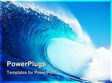 Waves Powerpoint Big Blue Wave Surfing In The Ocean Powerpoint Template