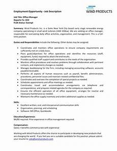 Office Job Description Wind Products Office Manager Job Description