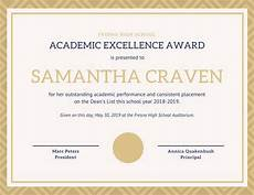 Academic Award Certificate White Amp Gold Elegant Academic Award Certificate
