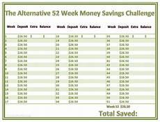 26 Week Savings Plan Chart 52 Week Money Saving Challenge Alternative Plan Printable