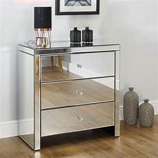 seville mirrored 3 drawer chest