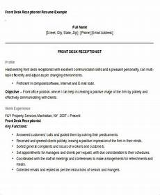 Resume For Front Desk Position Free 7 Receptionist Resume Objective Templates In Ms Word