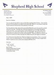Athlete Letter Of Recommendation Personal Testimony Elliott Welters Portfolio