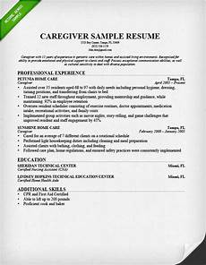 Caregiver Sample Resume Caregiver Resume Sample Amp Writing Guide Resume Genius