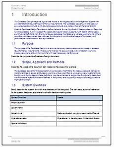 Application Design Document Sample Database Design Document Template Software Software