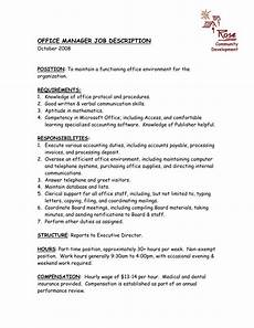 Office Job Description Office Manager Job Description