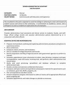 Administrative Assistant Duties For Resume Senior Administrative Assistant Resume 10 Free Word
