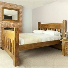 handmade chunky solid wood plank post slatted bed frame in