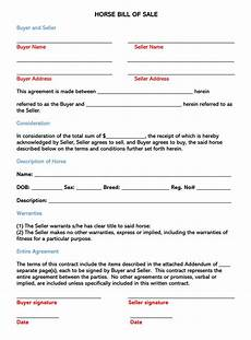 Horse Bill Of Sale Horse Bill Of Sale Free Forms Amp Templates Word Pdf