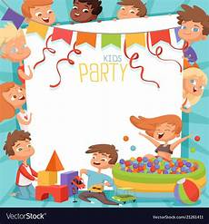 Kids Invitation Design Template Of Kids Party Invitation Vector Image
