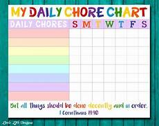 Chore List For Kids Chore Chart For Kids Chore Chart Printable Chore List