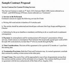 Proposal Agreement Sample Contract Proposal Template