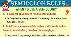 When Do I Use A Comma Semicolon When To Use A Semicolon In English 7 E S L