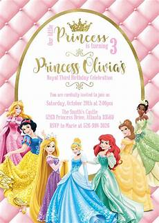 Princess Disney Invitations Princess Birthday Invitation Disney Princess Personalized