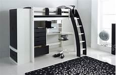 high sleeper bed with integral desk shelves wardrobe