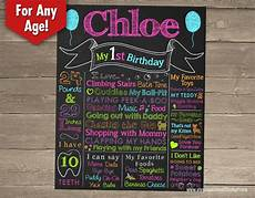 Birthday Sign Template First Birthday Chalkboard Sign Printable Birthday Chalkboard