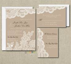 Lace Wedding Invitation 100 Personalized Custom Rustic Vintage Lace Wedding