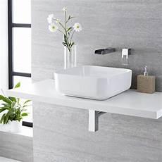 rubinetto a cascata lavabo bagno da appoggio quadrato in ceramica 400x400mm