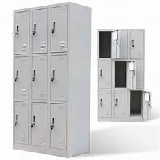 vidaxl co uk metal locker cabinet 9 doors grey