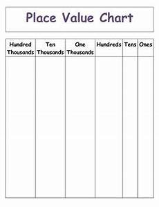 Ten Thousand Number Chart Place Value To Hundred Thousands Chart Blank Template