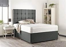 grey linen memory foam divan bed set with mattress
