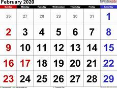 month calendar february 2020 february 2020 calendar templates for word excel and pdf