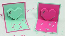 pixel herz pop up karte zum muttertag diy