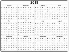 A Year Calendar 2019 Year Calendar Yearly Printable