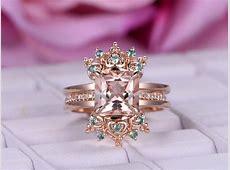 $1055 Princess Morganite Engagement Ring Sets Alexandrite