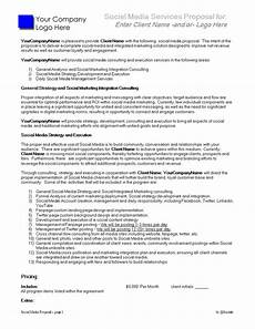 Service Proposal Template Social Media Services Proposal Templates At