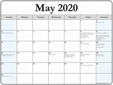 2020 Printable Monthly Calendar With Holidays May 2020 Calendar With Holidays