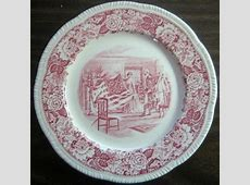 Red Pink Toile Transferware Betsy Ross Flag Shabby Plate L