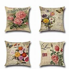 qishop throw pillow cover 18x18 set of 4 linen cotton ble