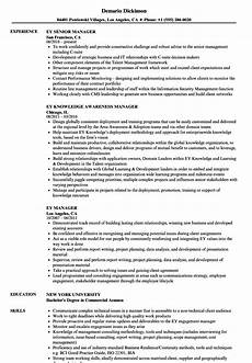 Ernst And Young Resume Sample Ey Manager Resume Samples Velvet Jobs
