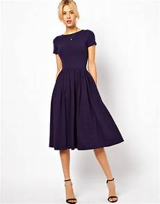 lyst asos midi dress with sleeves in blue