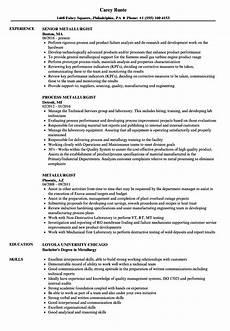 Metallurgist Sample Metallurgist Resume Samples Velvet Jobs