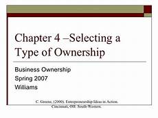 Three Types Of Business Ownership Ch 4 Type Of Ownership
