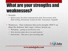 Examples Of Strengths And Weaknesses Interview Mindqjobs Com Fresher Interview Hr Questions