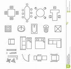Floor Plan Symbol Furniture Linear Vector Symbols Floor Plan Icons Stock