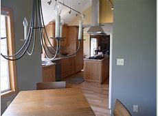 Vaulted Kitchen with hickory floors, cherry cabinets, steel and black appliances   Traditional
