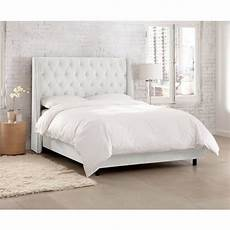 white tufted wingback king size upholstered bed rc
