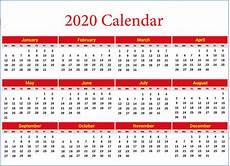 2020 Printable Year Calendar 2020 Yearly Calendar Printable Calendar 2020