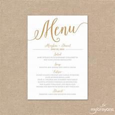 Wedding Menu Cards Gold Wedding Menu Card Printable Wedding Menu Bella Script