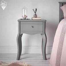 sorrento grey bedside table with drawer gold knob
