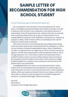 High School Letter Of Recommendation Template Sample Letter Of Recommendation For High School Student