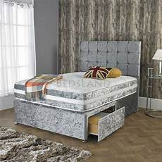 silver crushed velvet single bed with drawers free delivery