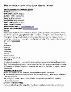 Online Resume Editor How To Write A Senior Copy Editor Resume Online