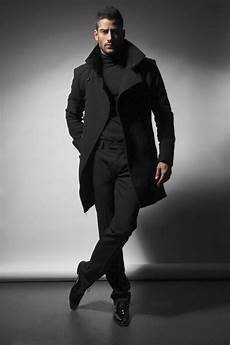 all black style overcoat turtleneck and