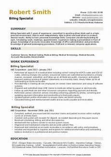 Medical Billing Specialist Resume Billing Specialist Resume Samples Qwikresume